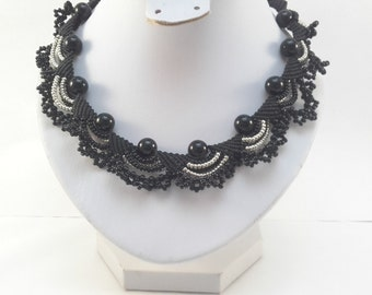 Black micromacrame necklace Macramya