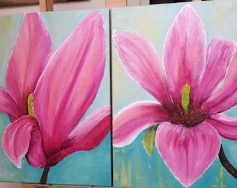 Magnolia flower - diptych