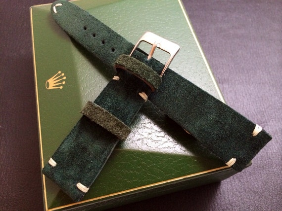 Handmade Vintage Leather Strap | Vintage Leather Strap | Leather Watch Strap | Vintage Leather Band | Suede Green for  - 20mm/16mm