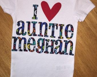Custom personalized appliqued baby auntie onesie