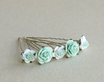 Mint Green Flower Hair Pins - Set of 5 - Made of mulberry paper flowers and U pins