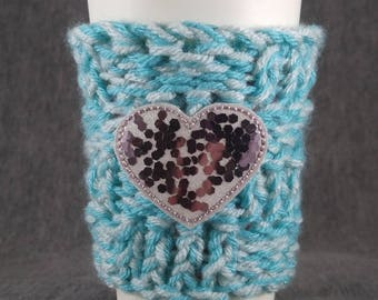 Heart Glitter Confetti cup cozy/ mug cozy/ coffee sleeve/ tea cozy/ hot drink
