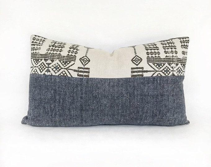Indigo Belgian Linen And Tribal Print Linen Lumbar Pillow Cover 14x24