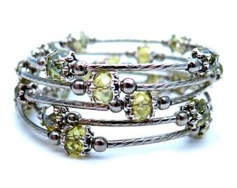 Yellow Glass Memory Wire Bracelet