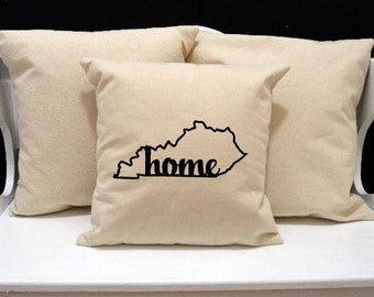 Kentucky Home Pillow, Kentucky Pillow, home pillow, pillow gift, Kentucky gift, Envelope Pillow Cover, state pillow, KY pillow, 20x20 pillow