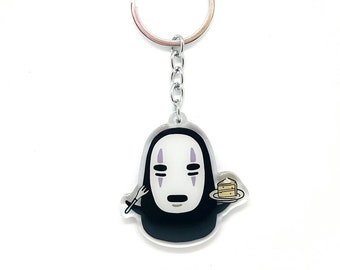 No Face (Kaonashi) and Cake, from Studio Ghibli's Spirited Away, Acrylic Charm Keychain