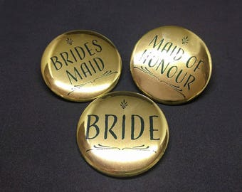 Bridal Party Buttons Bride Brides Maid Maid of Honour Bachelorette Party Bridal Shower Metallic Gold Style D
