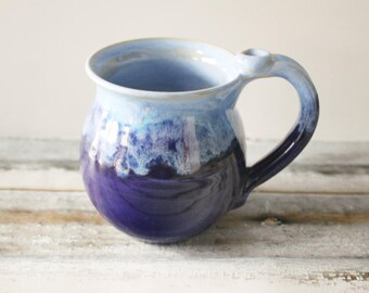 Coffee Cup, Light and Dark Blue Mug, 14 oz, Ready to Ship