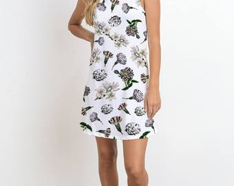 Botanical Flower Print Sleeveless Dress, Floral Print, Carnation Print, White Lily Print, Romantic Dress, Casual Dress, Mini Dress