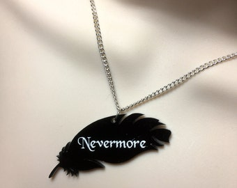 Black Acrylic feather 'NEVERMORE' Edgar Allen poe inspired necklace
