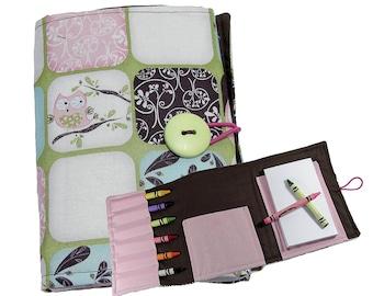 Crayon Organizer / Crayon Wallet / Crayon Tote / Travel Toy - Owls
