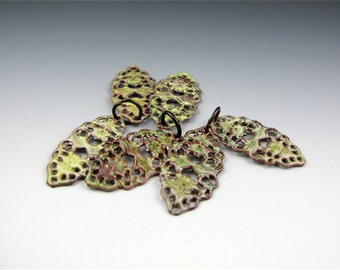 Enameled Oval Filigree / Lime Green Enamel / Made to order