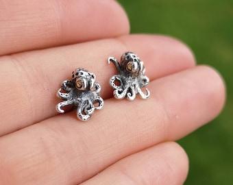 Tiny fine silver octopus earrings