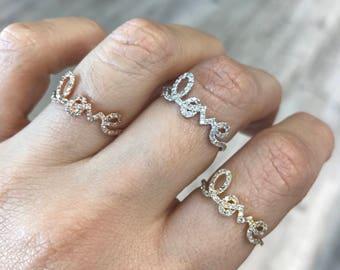 14k Gold Cursive 'Love' Diamond Ring 130-524