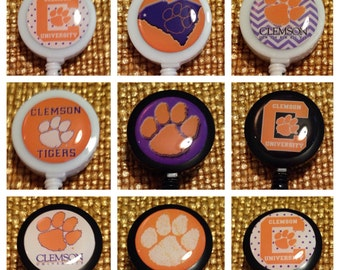 Clemson University Tigers Football ID Badge Name Tag Holder Retractable Reel Perfect For Nurse, RN, CNA, Teacher, Billard Player, Sports