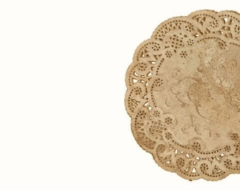 Vintage style Lace paper doilies Walnut stained various sizes. DIY Wedding Round doilies | Doily Crafts  - Wedding Invitations and Decor