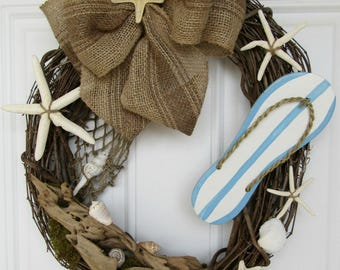 Beach Wreath, Flip Flop Wreath, Summer Wreath, Spring Wreath, Starfish Wreath, Welcome Wreath, Coastal Wreath, Grapevine Wreath