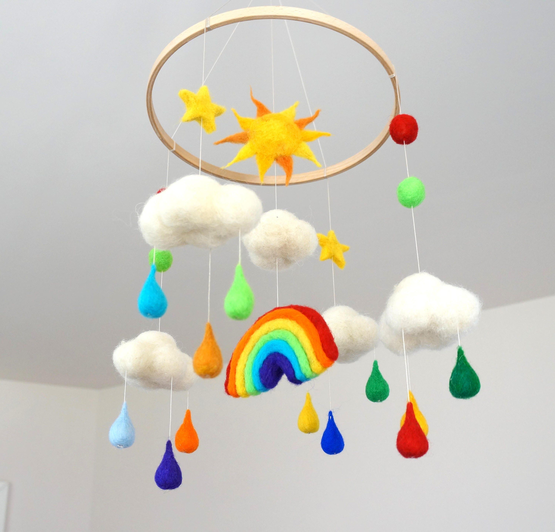 rainbow mobile sun mobile felt cloud mobile raindrops baby. Black Bedroom Furniture Sets. Home Design Ideas