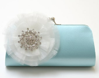 Rhinestone Bridal Clutch in Aqua Blue - Bridesmaid Clutch - Formal Clutch - Something Blue - Medium Size - Organza Flower Bloom SALE