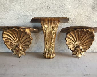 Three Carved Wood Shelf Brackets Vintage Floating Shelves, Architectural Salvage Wooden Corbel