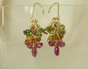 Little tourmaline earrings pink gold green 14k gold filled interchangeable leverbacks item 854