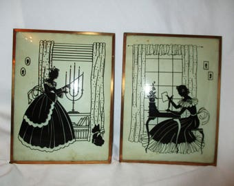 Vintage reverse painted silhouette  picture pair
