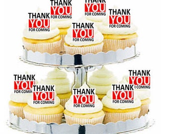 12pk Thank You for Coming Red Cupcake  Decoration Toppers Picks