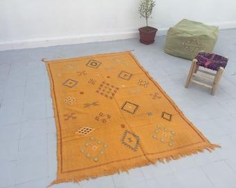 Moroccan Sabra Cactus Silk Kilim Rug, Moroccan Rug, Boho Rug, Bohemian, Home Decor, Textiles