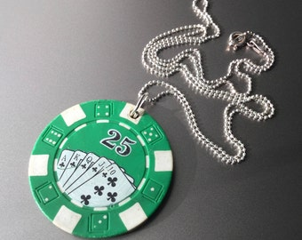 Vintage Green Casino Gaming Poker Chip on Sterling Silver Diamond Cut Faceted Ball Chain Necklace