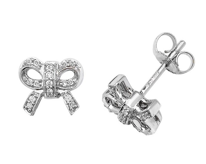 9ct White Gold 0.10ct HSI Diamond Bow 8x6mm Stud Earrings