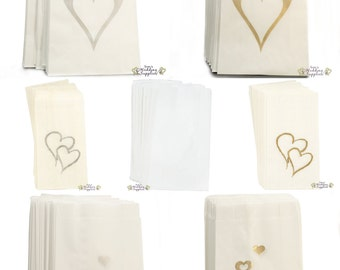 50 x Wedding Cake Bags Silver or Gold Hearts Reception Favour Decoration Supplies