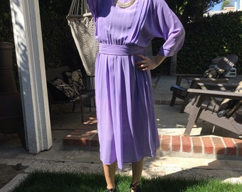 Vintage Purple Dress // 80s Dress // Belted Dress