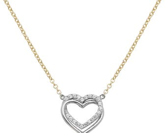 Heart Pendant 9ct GOLD Ladies CZ Necklace 18 inches Chain