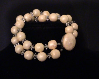 Vintage Glass Baroque Pearl & Crystal Chain-Strung Bracelet
