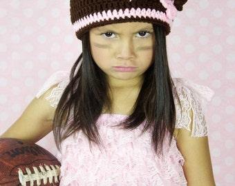 Football beanie - girls football beanie - crochet football hat - toddler football hat - pink and brown hat - football hat- handmade