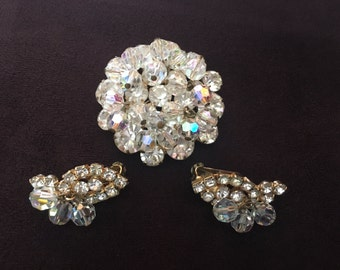 Juliana D&E Clear Rhinestone with Clear AB Crystal Beads Brooch and Earring Set 0925