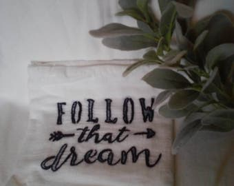 Hand embroidered flour sack towels