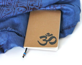 Yoga Journal Mini Notebook Hand Stamped OM Sketchbook Writing Journal Gift