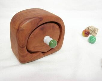 Small California Redwood Drawer, green & white lampwork glass, engagement ring box, wood jewelry box, ring bearer box, earring box, eco gift