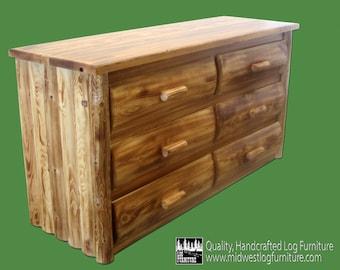 Torched Cedar 6 Drawer Log Dresser - Dovetail Drawers