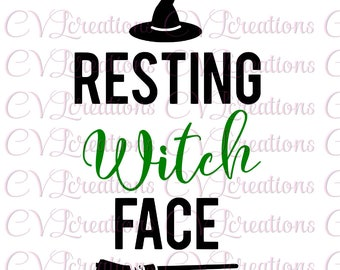 Resting Witch Face Halloween SVG DXF PNG