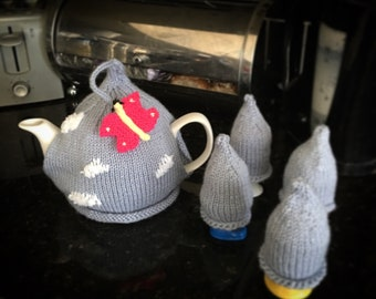 Blue skies and butterfly tea cozy & egg cozies