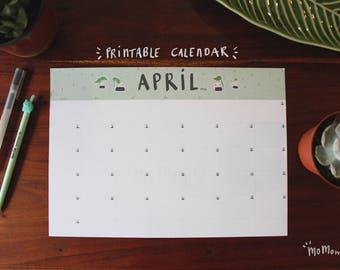 April Calendar 2018 Printable - Momomo