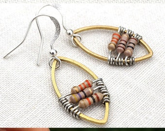jewelry handmade Wearable Technology Techie Jewelry Computer Earrings Petite Resistors Geometric Frame Earrings Electronic Eco Friendly