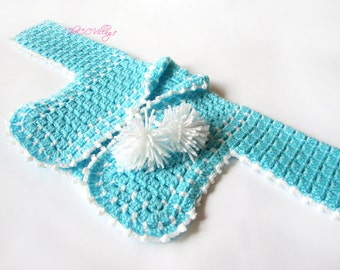 Teal Crochet baby girl sweater, Handmade baby clothes