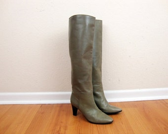 SALE Size 7 Yves Saint Laurent Tall Taupe Gray Leather Heeled Boots Narrow