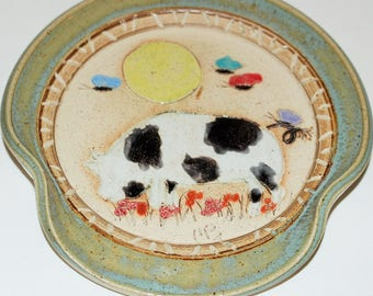 Handmade Stoneware Pottery Spoon Rest / Cute Pig in the Moonlight