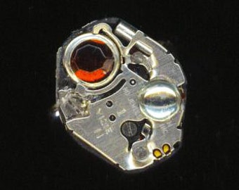 Steampunk Ring . Vintage Watch Movement . Industrial . Birthstone Ring . Rhinestone . Silver Plated base  -  Desire by enchantedbeas on Etsy