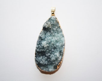 Druzy, Crystal, Gemstone, edged in Gold Tone Drussy Druzzy Drusy Teardrop Pendant , Necklace Charm Crafts, - 44x29mm - 1ct - #450