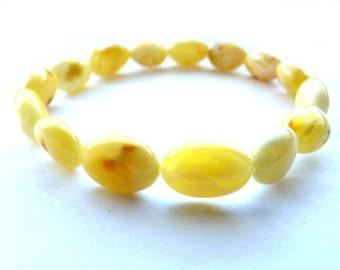 Baltic Amber Butterscotch Bracelet Olive Beads Natural 6.5 gram